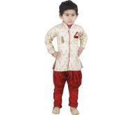 JBN Creation Boys Festive & Party, Wedding Kurta and Pyjama Set  (Gold Pack of 1)