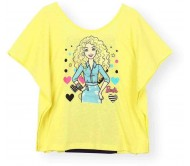 Barbie T- shirt For Girls  (Yellow, Pack of 1)