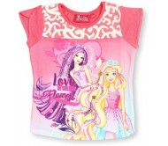 Barbie T- shirt For Girls  (Pink, Pack of 1)