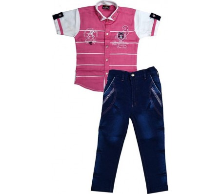 Color Kids Boys T-shirt  (Pink)