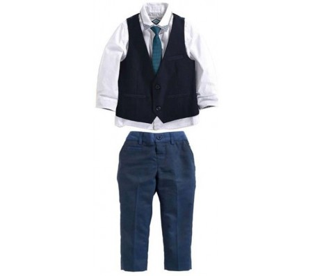 Shopandmart Boys Party(Festive) Dress Dress, Shirt, Pant, Vest, Tie  (Dark Blue)