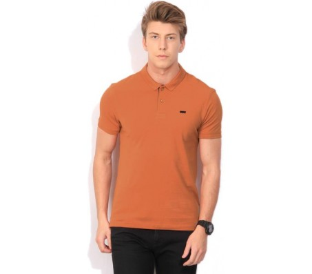Levi's Solid Men's Polo Neck Orange T-Shirt