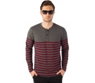 Rodid Striped Men's Henley Grey, Maroon T-Shirt