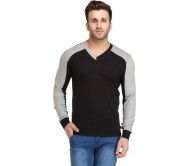 Leana Solid Men's V-neck Black, Grey T-Shirt