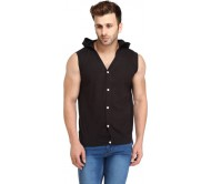 Leana Solid Men's Hooded Black T-Shirt
