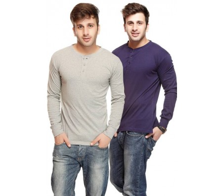 Gritstones Solid Men's Henley Blue, Grey T-Shirt  (Pack of 2)