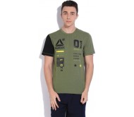 Reebok Printed Men's Round Neck Dark Green T-Shirt