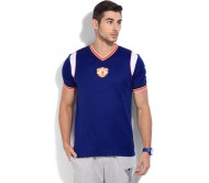 Adidas Solid Men's V-neck Blue T-Shirt