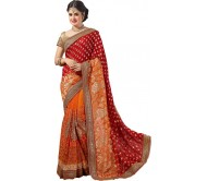M.S.Retail Embroidered Bollywood Jacquard, Net, Georgette Saree  (Red)