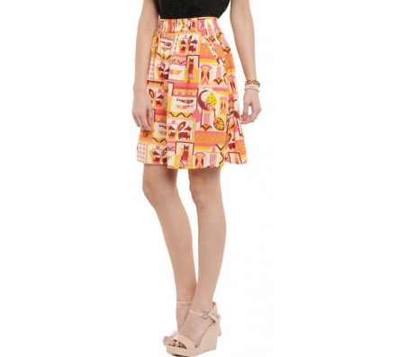 Chumbak Printed Women's A-line Orange Skirt