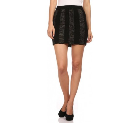 The knit factory Self Design Women's Regular Black Skirt