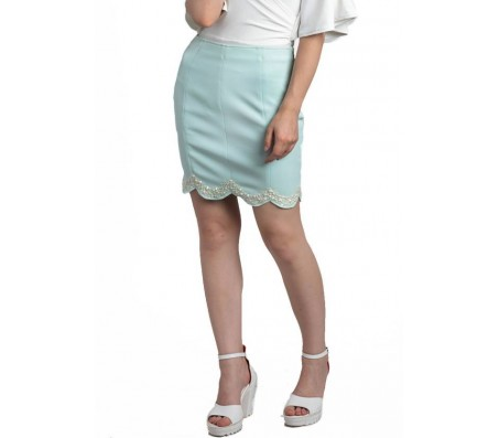 Divaat Solid Women's Straight Blue Skirt
