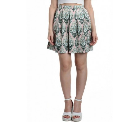 Divaat Printed Women's Pleated Multicolor Skirt