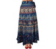 Marwari Fashion Printed Women's Wrap Around Blue Skirt