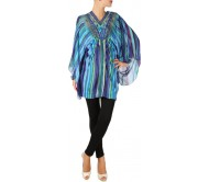 Karmik Casual Kimono Sleeve Striped Women's Blue Top
