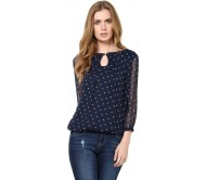 Harpa Casual 3/4th Sleeve Printed Women's Blue Top