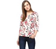 Harpa Casual 3/4th Sleeve Floral Print Women's White Top