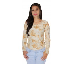 Vinbi Casual Full Sleeve Floral Print Women's Beige Top