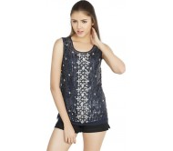 W.A.Y Party Sleeveless Embellished Women's Blue Top