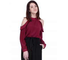 AIDA Party Full Sleeve Solid Women's Maroon Top