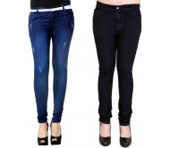 Smart Girl Slim Women's Black, Blue Jeans  (Pack of 2)