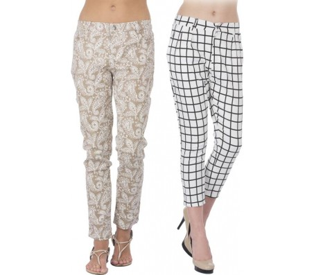 Cay Slim Fit Women's Multicolor Trousers
